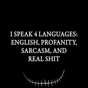 I speak 4 languages: English, Profanity, Sarcasm, and Real shit