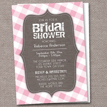 Gingham Southern Rustic Bridal Shower Invitations - 8 color choices - Printed or Printable