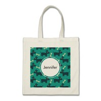 Cute Dog Pattern with Bone on Green Background Tote Bag