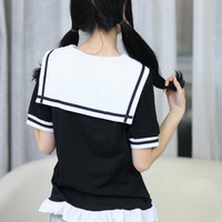 Harajuku style sailor suit wind ruffles College T-shirt from Harajuku fashion