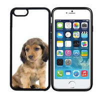 iPhone 6 (4.7 inch display) Designer Black Case - Dachshund (Long Haired) Puppy Dog