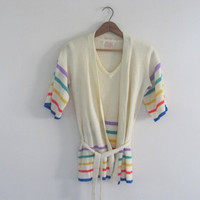 70s vintage cardigan sweaterset with shirt // rainbow stripes // women's size M