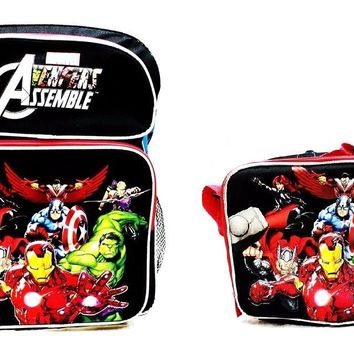"Avengers Assemble Boys 14"" Canvas Black & Red School Backpack with Lunch Bag"