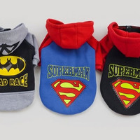 Autumn Winter Fashion Pet Dog Puppy Clothes Apparel Cute Cartoon Warm Hoodies Sweater Two Leg Sweater Barman Superman