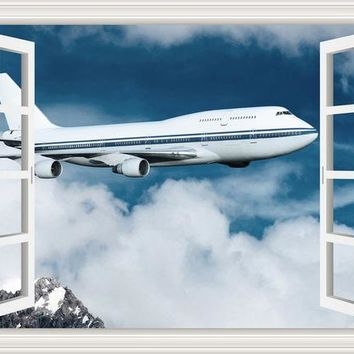3D Wall Jet Airplane Sticker Decal Vinyl Wall Art Mural Large Window View Blue Sky