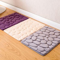8 Colours Coral Fleece Bathroom Memory Foam Rug Toilet Pattern Bath Non-slip Mats Floor Carpet Set Mattress for Bathroom Decor