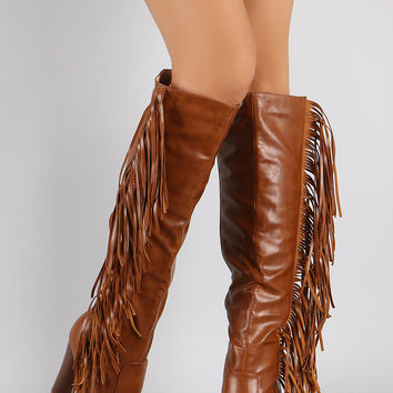 Vegan Leather Falling Fringe Chunky Heel Boots
