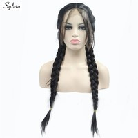 Sylvia Long Double Braids #1B Black Braided Box Braids Wigs Synthetic Lace Front Wig With Baby Hair Heat Resistant 180% Density