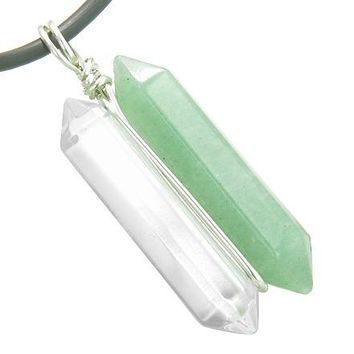 Individual Amulet Double Crystal Point Green Aventurine Quartz Gemstones Pendant Silver Necklace