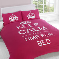 Keep Calm Its Time For Bed Cerise Pink Reversible Duvet Set Single Or Double