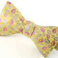 Gold and Pink Wedding Bow Tie, Pure Silk - 'Tumbling Floral II'