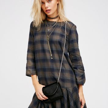 Free People Drop It Low Plaid Mini Dress
