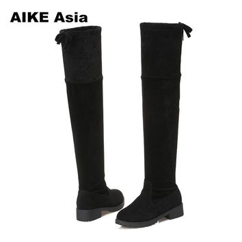 2018 New Hot Women Boots Autumn Winter Ladies Fashion Flat Bottom Boots Shoes Over The Knee Thigh High Suede Long Boots #740