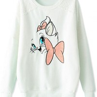Embroidered Cartoon Cat Lace-Trim Sweatshirt - OASAP.com