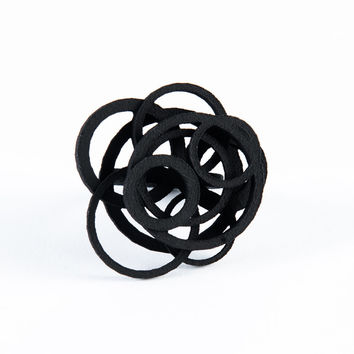 Black 3D Printed Open Circle Ring