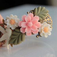 Spring Fashion: White  bird with resin flower and leaves bracelet, wedding bracelet, vintage style, bridesmaid, bangle, jewelry, spring