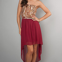 High Low Homecoming Dress with Sequins
