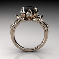 Nature Inspired 14K Rose Gold 2.0 Carat Oval Black Diamond White Diamond Lotus Flower Engagement Ring R1013-14KRGDBD