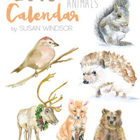 2016 Calendar - Woodland Animal 4 x 6 Desk Calendar - 12 Month - Watercolor Paintings