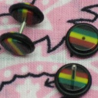 16G Fake Ear Plugs 0G Ear Cheater Rasta