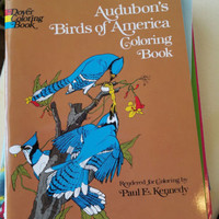audubons birds of america flowers trees coloring book animals 1974 art supply