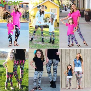 Geometric Women-Child Leggings Super Stretchy High Waist Sports Running Tights Cotton Slim Fitness Gym Workout Yoga Pants Skinny