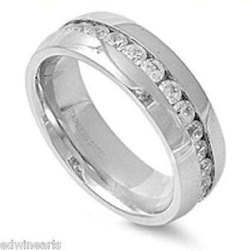 Stainless Steel  Cz Eternity Band