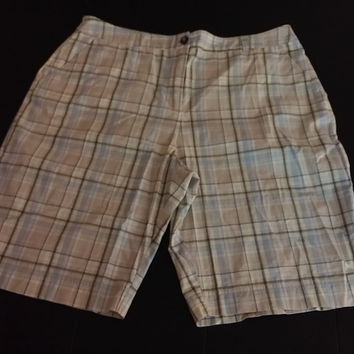 Basic Edition Bermuda Shorts Plaid Walking Shorts Size 16