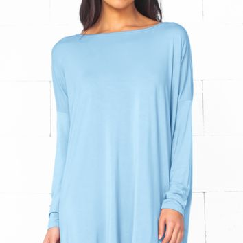 Piko 1988 Aquamarine Blue Long Sleeve Scoop Neck Piko Bamboo Oversized Basic Tunic Tee Shirt Mini Dress