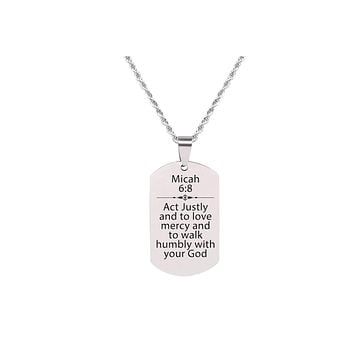 Solid Stainless Steel Scripture Tag Necklace  - Micah 6:8