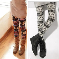 Women Multi Color Ankle Snowflakes Leggings Tights Pant Knit Look Nordic Pattern