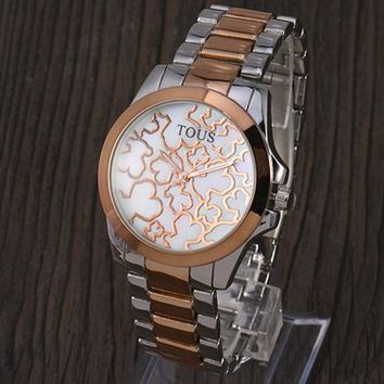 TOUS 2018 new trend fashion wild quartz watch F-YY-ZT Silver&rose gold
