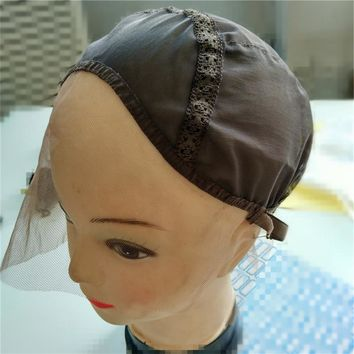 Lace Front Wig Cap Base For Making Wigs With Adjustable Strap Glueless Weaving Cap For Hand Made Wig 2pcs/lot