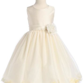 Sleeveless Flower Girl Petal Dress - Ivory LT-H341
