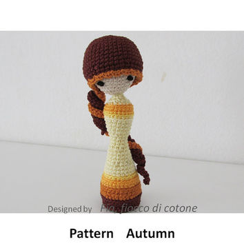 Pattern Autumn , miniature doll amigurumi crochet