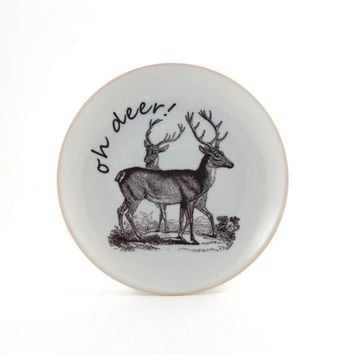 Oh Deer  Altered Funny Plate Porcelain White Humorous Decorative House Decor Vintage Winter Forest