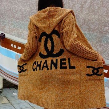 PEAPON Chanel Hooded Sweater Knit Cardigan Jacket Coat