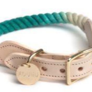 Rope & Leather Collar Teal Ombre by Found My Animal at Baysidebuddy.com