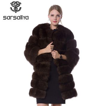 SARSALLYA real fur fox fur coat  design ladies winter really fox fur coat detachable real fur coat wome