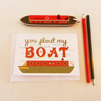 You Float My Boat Greeting Card - Mothers Day, Friendship, Birthday, Narrowboat, Blank