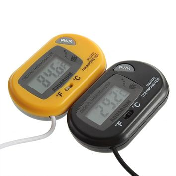 Mini Digital LCD Fish Household Aquarium Terrarium Marine Thermometer black