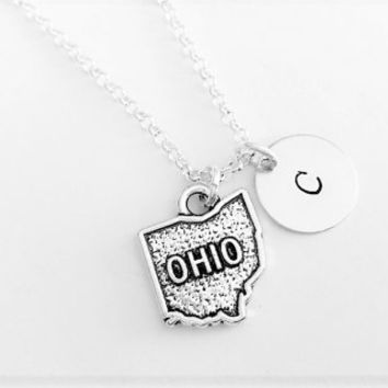 Ohio necklace personalized initial necklace, home state jewelry, Ohio pendant, friendship necklace gift for her, Ohio friend no matter where