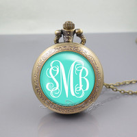 Monogram Pocket Watch Locket Necklace,vintage Green pendant - ALL Colors Can be changed! [ Font style, Font color, Background color ... ]