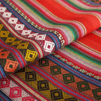 Aztec Fabric, Peruvian Fabric, Woven, Cusco Red, 1 Yard