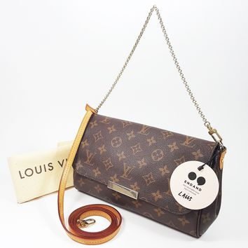 Authentic Louis Vuitton Favorite MM Monogram M40718 Shoulder Clutch Bag LV LA665