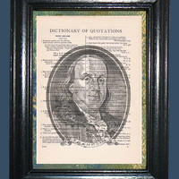 Benjamin Franklin Portrait - Vintage Dictionary Book Page Art, Upcycled Book Art Print on Vintage Dictionary Page, Founding Father Print