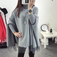 2017 Winter Sweater Batwing Sleeve Plus Size Women Turtleneck Sweater And Pullovers Knit Talles Oversize Women Poncho Pull Femme
