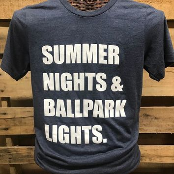 Southern Chics Apparel Summer Nights & Ballpark Lights Baseball Softball Canvas Girlie Bright T Shirt