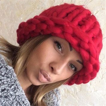 Women's Winter Hats Warm Handmade Knitted Coarse Lines Cable Hats Knitting Cap Candy Color Beanies Crochet Caps Women Beanies