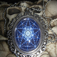 Wicca Pagan Blue Star Pentagram 30x40mm Glass Cabochon Cameo Necklace from Cognitive Fashioned